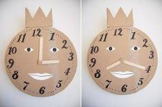 Do It Yourself: Cardboard Clock Diy Projects With Cardboard, Cardboard Recycling, Cardboard Cartons, Diy Cardboard, Diy Craft Projects, Craft Ideas, Green Crafts For Kids, Kids Crafts, Diy Karton