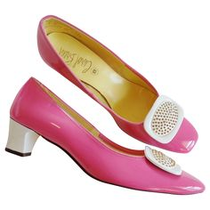 Shoes Pink Color Block Vintage 1960's Mod Buckle Pumps - Never Worn!