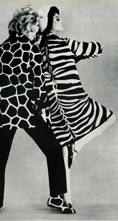 Guy Laroche, Vogue UK 1965 animal prints, zebra print  (please follow minkshmink on pinterest) #zebraprint #animalprint #fashion