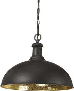 Delhi pendant in black lacquered metal with golden inside. Hearty pendant lamp for larger purposes! Light source is not included Ceiling Lamp, Ceiling Lights, Pendant Lamp, Lighting, Vintage, Home Decor, Inspiration, Pedestal, Metal