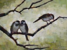 Connie Geerts, Three Sparrows,  Acrylic on Board 12 X 16 in. $400.00 at www.woodlandsgallery.com