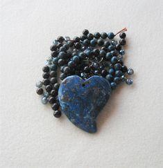 Blue Jasper Heart Pendant, Blue Ribbon and Brecciated Jasper Gemstone Round Beads, Jewelry Making Beads, DIY Jewelry Kit Diy Jewelry Kit, Jewelry Making Beads, Jasper Gemstone, Gemstone Beads, Bead Kits, Ceramic Beads, Acrylic Beads, Blue Ribbon, Bead Weaving