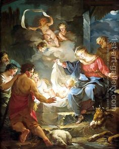 """Nativity ~ by Jean-Baptiste-Marie Pierre/  """"For unto us a child is born, unto us a son is given: and the government shall be upon His shoulder: and His name shall be called Wonderful, Counselor, the Mighty God, the Everlasting Father, The Prince of Peace"""" (Isaiah 9:6)."""