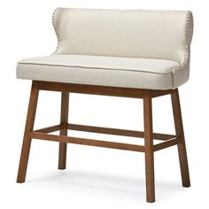 Baxton Studio Gradisca Modern and Contemporary Beige Fabric Button-Tufted Upholstered Bar Bench Banquette