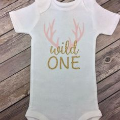 Any Colors Wild One Deer Antlers / Woodland Pink and Gold Glitter Birthday Onesie / Shirt for Any Age, One Year Old, First Birthday Shirt by CamiAndJo on Etsy