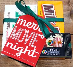 Merry Movie Night : Printable gift tag for a movie night gift with movie theater candy