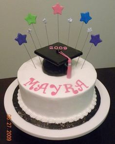 Star Graduate Girl ordered this cake for herself. Simple round w/pop-out stars in requested colors & grad cap made from RKT. College Graduation Parties, Grad Parties, Graduation Cake Designs, Graduation Ideas, Chevron Cakes, Mocha Frosting, Ganache Cake, White Icing, Cupcake Cakes