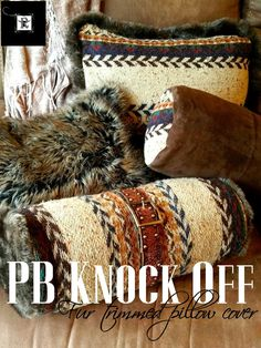 *** AWESOME - creative use of thrifted and old fabrics from her own closet - LOVE IT! Redo It Yourself Inspirations : PB Knock Off - Fur Trimmed Sweater Pillow Cover Sweater Pillow, Fur Pillow, Old Sweater, Diy Pillows, Decorative Pillows, Cushions, Knock Off Decor, Recycled Sweaters, Pottery Making