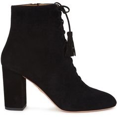 Aquazzura Jourdan black suede ankle boots (1,055 CAD) ❤ liked on Polyvore featuring shoes, boots, ankle booties, black high heel booties, ankle boots, black lace-up boots, black suede ankle booties and black ankle booties