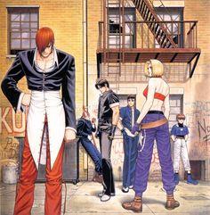 The King of Fighters (ザ・キング・オブ・ファイターズ Za Kingu Obu Faitāzu?), abreviado KOF, y traducido (ell Rey De Luchadores) es una saga de videojuegos de lucha inicialmente para el sistema Neo Geo desarrollada por la compañía SNK. Art Of Fighting, Fighting Games, Mode Cyberpunk, Snk King Of Fighters, Neo Geo, Mundo Comic, The Future Is Now, Video Game Characters, King Of Kings