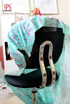 Diy Office Chair Slipcover How Do It Info Make Cute Office Chair Covers Diy Home Guidecentral Offi. Office Chair Makeover, Furniture Makeover, Cubicle Makeover, Furniture Refinishing, Refurbished Furniture, Repurposed Furniture, Slipcovers For Chairs, Upholstered Chairs, Vitra Eames Chair