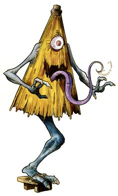 Kasa Obake- Japanese folklore: an umbrella that has come to life because it has existed for 100 years. It jumps around on one leg and is usually depicted with two arms. It has one eye and a long tongue coming out of a mouth.