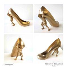 Greedily Gilded Footwear - The Sebastian Errazuriz Gold Digger Shoes Rests on Tired Shoulders (GALLERY)