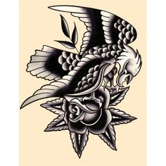 Traditional Eagle by Mr. Skully Rose Tattoo Artwork Canvas Art Print