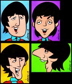 The Beatles - Cartoon Cartoon Kunst, Cartoon Tv, Cartoon Characters, Cartoon Memes, Cartoon Drawings, Beatles Poster, Les Beatles, Comic Cat, Beatles Party