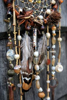 Autumn key dreamcatcher (brown&beige)