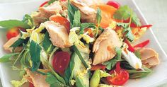 This easy Thai salmon salad is best eaten as soon as it's dressed with the sweet chilli dressing.