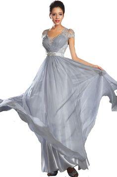 MDBRIDAL Chiffon Spitze Abendkleider A-line Sheer Zurück in Silber Benutzerdefinierte Größe //Price: $US $93.99 & FREE Shipping //     #dazzup
