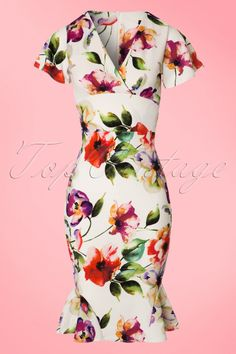 Pin Up Dresses | Pin Up Clothing 50s Peggy Floral Waterfall Pencil Dress in Ivory £46.32 AT vintagedancer.com