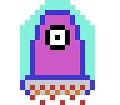 Our first candidate for Project Spaghetti's alien enemy. To differentiate the alien from other enemy types, while maintaining an easy-to-understand collision shape (after all, bullets are going to be bouncing off the thing's shield and later slamming into its body when the shield goes down), we took the ghost from the graveyard stage as a base shape and built the shield and hovercraft around it, giving it a big scary eye to finish.