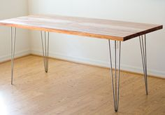 DIY table: hairpin legs and reclaimed wood top #table Plank + hairpin legs = awesome desk for about $100. Buy legs here: http://hairpinlegs.com/products.php?id=1