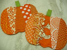 Pumpkin Mug Rugs Coasters Set of 4 by SewSweetSparrow on Etsy