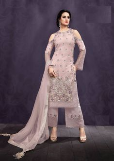 Pink Net Wedding Wear Pant Style Suit Ziona Emotions 25006 Set By Zoya Pakistani Formal Dresses, Indian Dresses, Indian Outfits, Pakistani Suits, Punjabi Suits, Stylish Dress Designs, Stylish Dresses, Stylish Suit, Oriental Fashion