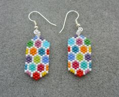 Handmade Flat Hexagon Beaded Earrings Peyote Stitch by ErikaVondrakDesigns on Etsy Seed Bead Jewelry, Bead Jewellery, Seed Bead Earrings, Beaded Earrings, Unique Earrings, Seed Beads, Seed Bead Patterns, Beading Patterns, Beading Tutorials