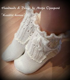 """Kesällä kerran"" Crochet Socks, Knitting Socks, Frilly Socks, Cold Feet, Handmade Design, Slippers, Stockings, Footwear, Leggings"