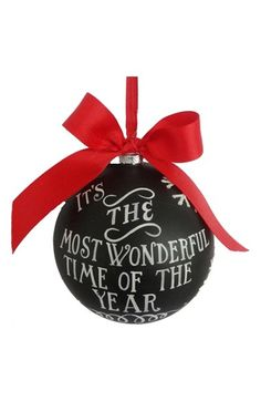 Free shipping and returns on Sage & Co  'Wonderful' Chalkboard Ornament at Nordstrom.com. A festive yuletide message is painted atop a glass chalkboard-style ornament tied with a big red bow—perfect for trimming the tree.