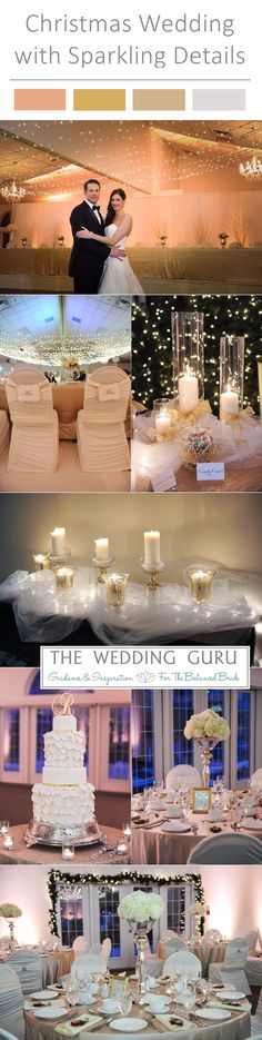 Real Wedding – Jillian and Mike. A sparkly #Christmas #Wedding with gold and white details. The #bride and #Groom left the ceremony in a horse and carriage. White hydrangea #centerpieces, twinkle lights over the dance floor, and a beautiful gold and white wedding cake.  Guests enjoyed a hot chocolate station with marshmallows, cake pops and Bailey's Irish Cream. Decadent! See the rest of the amazing wedding here http://www.theweddingguru.ca/real-wedding-jillian-and-mike/