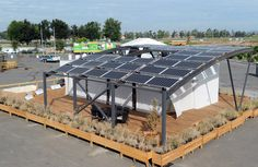 PV arrays for West Virginia University and University of Roma Tor Vergata at the U.S. Department of Energy Solar Decathlon 2015 at the Orange County Great Park, Irvine, California  (Credit: Thomas Kelsey/U.S. Department of Energy Solar Decathlon)