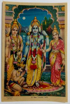 Hinduism Religious Photo Picture Frames Lord Ram Mata Sita With Laxman And Hanuman Hindu God In Size 28\u2033 X 20\u2033 Inches Photo Frames