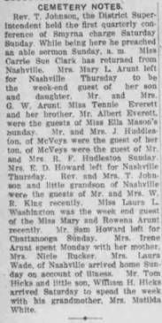 Cemetery Notes December 6, 1912 :: Cemetery, a Freedmen's Community, Rutherford County, Tennessee