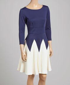 f5185f8f96 Danny   Nicole Navy   Cream Color Block Fit   Flare Dress