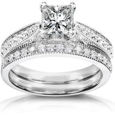 1.33 CT TW Diamond 14K White Gold Bridal Set Ring