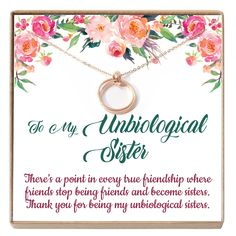 Unbiological Sister Gift, Best Friend Necklace, Big Little Sorority, Soul Sister, Bridesmaid Gift - - Happy Ava Happy 20th Birthday, Mom Birthday Gift, Grandma Gifts, Sister Gifts, Soul Sister Quotes, Besties, Bff, Sister Cards, 20th Anniversary Gifts