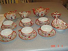 Made in Japan Hand Painted Tea Set for 6 - Very Old