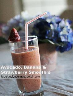 Fabulously Average, Avocado, Banana & Strawberry Smoothie