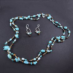 Navajo Turquoise and Tiger's-Eye Jewelry Set