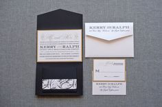 Gatsby Inspired Black and Gold Formal Pocket Wedding Invitation - Kerry and Ralph on Etsy, $8.50