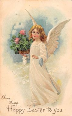 Easter Greetings Angel with Four Leaf Clovers Antique Postcard (J19195)