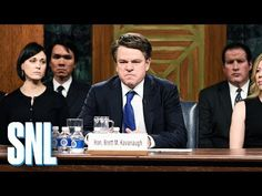 """""""Saturday Night Live's"""" cold open featured Matt Damon as Brett Kavanaugh as he's grilled by cast members playing senators on the Judiciary committee. Alex Moffat, Kyle Mooney, Sheldon Whitehouse, Amy Klobuchar, Snl Youtube, Cold Open, Dianne Feinstein, Snl Saturday Night Live, Cory Booker"""