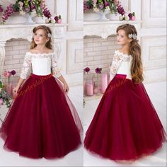 5d8ebb03cbf Burgundy Flower Girls Dresses For Weddings 2018 Off Shoulder 3 4 Long  Sleeves Puffy Tulle Girls Party Pageant Dress Kids Bridesmaid Dresses Lace Flower  Girl ...