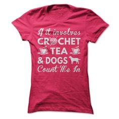 (New Tshirt Deals) Crochet Tea and Dogs [Tshirt Sunfrog] Hoodies, Funny Tee Shirts
