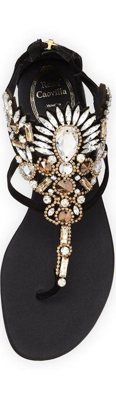 Rene Caovilla Chandelier Crystal Thong Sandal, Black