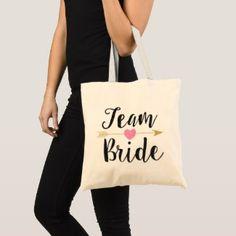 """Team Bride"" Bridesmaid Glitter-Print Black Tote Bag | All Purpose Bride Team Print Back Available on Zazzle #bachelorette #bachelorettepartyideas"