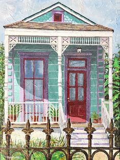 New Orleans shotgun house art print Tremé Shotgun House. Signed and numbered art print of my original acrylic painting. New Orleans Art Galleries, Shotgun House, Louisiana Art, Number Art, La Art, Free Art Prints, Paintings I Love, Original Paintings, House Painting