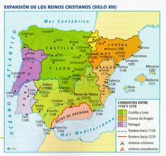 Map Of Spain, Iberian Peninsula, Historical Maps, Middle Ages, Ancestry, Spanish, Granada, Portugal, Fantasy