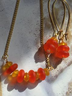 Fabulous Sea Glass necklace and earrings set~cultured sea glass earrings,necklace-beach glass necklace-Orange gold glass recycled set-gifts